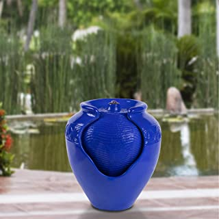 Pure Garden 50-LG1184 Jar Fountain – Indoor or Outdoor Ceramic-Look Glazed Pot Resin Water Feature with Electric Pump and LED Lights (Cobalt Blue)