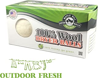 Maple Hill Dryer Balls X-Large Handmade Wook Dryer Balls Fabric Softener, Outdoor Fresh, Set of 2