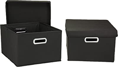 Household Essentials Fabric Storage Boxes with Lids and Handles, Black