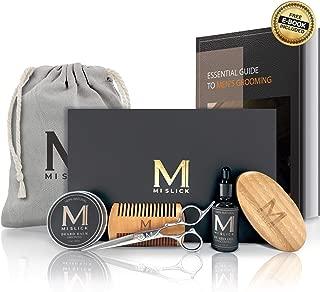 UPGRADED Premium Beard Grooming Care Kit for Men -100% Natural Unscented Beard Oil & Beard Balm, Wooden Comb, Boar Hair Bristle Brush, Beard & Mustache Scissors, Travel Bag in a Beard Gift Set for Men