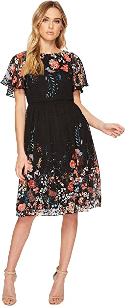 Adrianna Papell - Field Of Blooms Ruffle Sleeve Dress