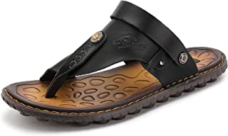 Mens Sandals Flip Flops for Men Shoes with Toe Ring Casual Summer Leather Black