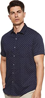 Octave Men's Cotton Dobby Motifs Printed Casual Shirt, Navy