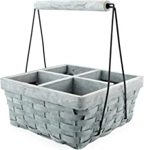 AuldHome Basket Caddy (Gray Washed), 4-Compartment Carry-All Organizer