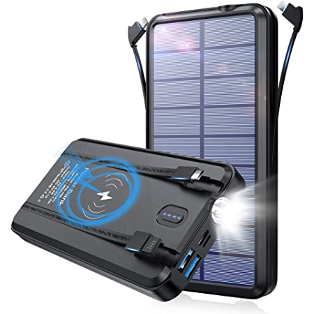 【2021年新登場 & ケーブル内蔵 & ワイヤレス充電器】 ソーラーチャージャー 30000mAh 大容量 ソーラー充電器 6台同時充電(Type-C/Lightning/Micro USB 3ケーブル内蔵+2つUSBポート+ワイヤレス充電器) 本体に内蔵されたUSBケーブル モバイルバッテリー ソーラー 高輝度LEDライト付き 携帯充電器 旅行/出張/緊急用 防災グッズ PSE認証済 iPhone/iPad/Android各種他対応