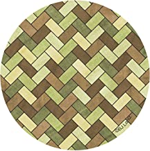 Thirstystone Drink Coaster Set, Green and Brown Herringbone
