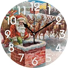 Naanle Fashion Pattern Large 9.5 Inch Round Wall Clock, Battery Operated Quartz Analog Quiet Desk Clock for Home,Office,School 9.5in Multi g11351728p239c274s441