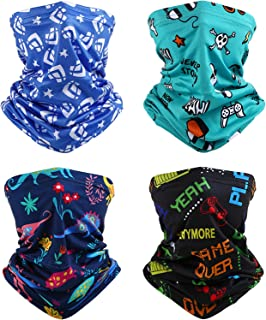 Geyoga 4 Pieces Kids Neck Gaiters, Kids Balaclava Bandanas UV Protection Face Covering Scarf for Kids Hiking Cycling Travel Sport Outdoor (Boy)
