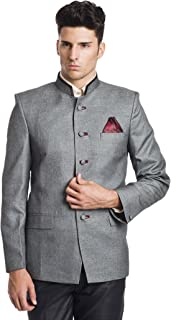 WINTAGE Men's Linen Blend Bandhgala Nehru Mandarin Blazer - Grey,34 Regular