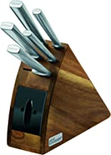 Wiltshire Staysharp Stainless Steel Radius Knife Block, Carving, Santoku, Sandwich, Utility and Paring Knives, 1 Knife Block with in-Built Sharpener (Colour: Brown), Quantity: 1 Set, 6 Pieces
