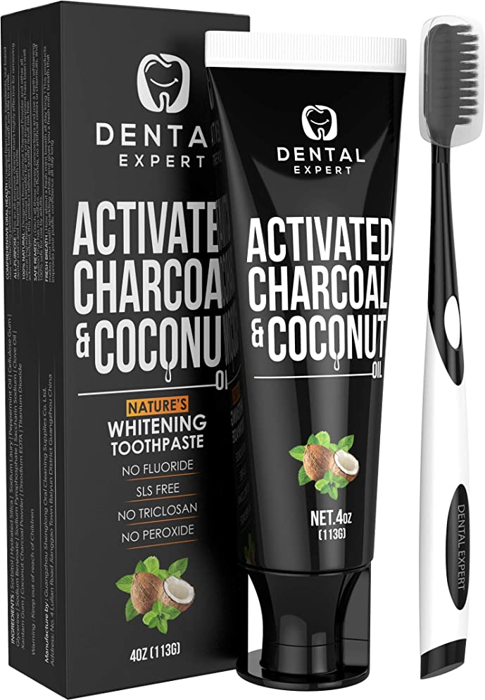 Activated Charcoal Teeth Whitening Toothpaste - DESTROYS BAD BREATH - Best Natural Black Tooth Paste Kit - MINT FLAVOR - Herbal Decay Treatment - REMOVES COFFEE STAINS - 105g (4 Oz)