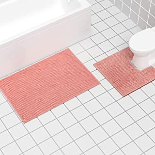 Bathroom Rugs and Mats Set, 2 Piece Chenille Bath Rug Mat Contour Set, Machine Wash Dry, Non Slip Absorbent Shaggy Bath Ru...