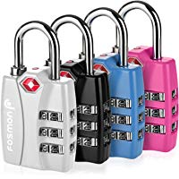 4-Pack Fosmon TSA Approved 3 Digit Combination Luggage Locks with Open Alert Indicator