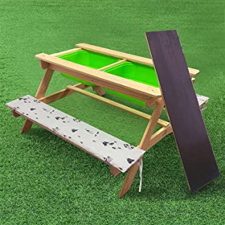 Kids Picnic Table and Chairs Set w/Cushions Outdoor Wooden Desk and Benches Sand and Water Table Patio Dining Playful Wood Table 2 Large Storage Drawers Removable Table Top for Children Deck Garden