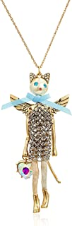 Betsey Johnson Womens Blue and Gold Long Cat Pendant Necklace