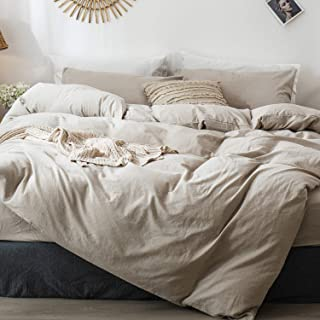 MOOMEE Bedding Duvet Cover Set (1 Comforter Cover + 2 Pillow Shams) 100% Washed Cotton Linen Like Textured Breathable Durable Soft Comfy (Solid Linen, Queen)