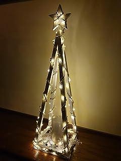 Albero di Natale in Legno, Bianco in forma Piramide, Decorazione Natalizio/Capodanno/Feste