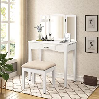 Harper&Bright Designs Vanity Table Set with Cushioned Stool Dressing Table Vanity Makeup Desk Vanity with Mirror with 1 Drawer (Snow White)