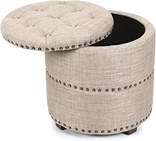 Adeco Euro Style Fabric Bench Ottoman Chair Footstool, Rusty Brown