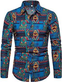 Camisas de Manga Larga para Hombre con Costura de Personalidad, Estilo Retro, Estampado étnico, algodón, Lino, Ajuste Regu...