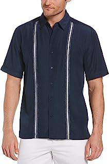 Cubavera Men's Contrast Insert and Stitching Short Sleeve Woven Shirt