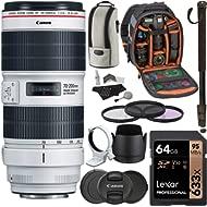 Canon EF 70-200mm f/2.8L is III USM Zoom Lens, Sandisk 64GB U3 Card, Backpack & Accessory Bundle