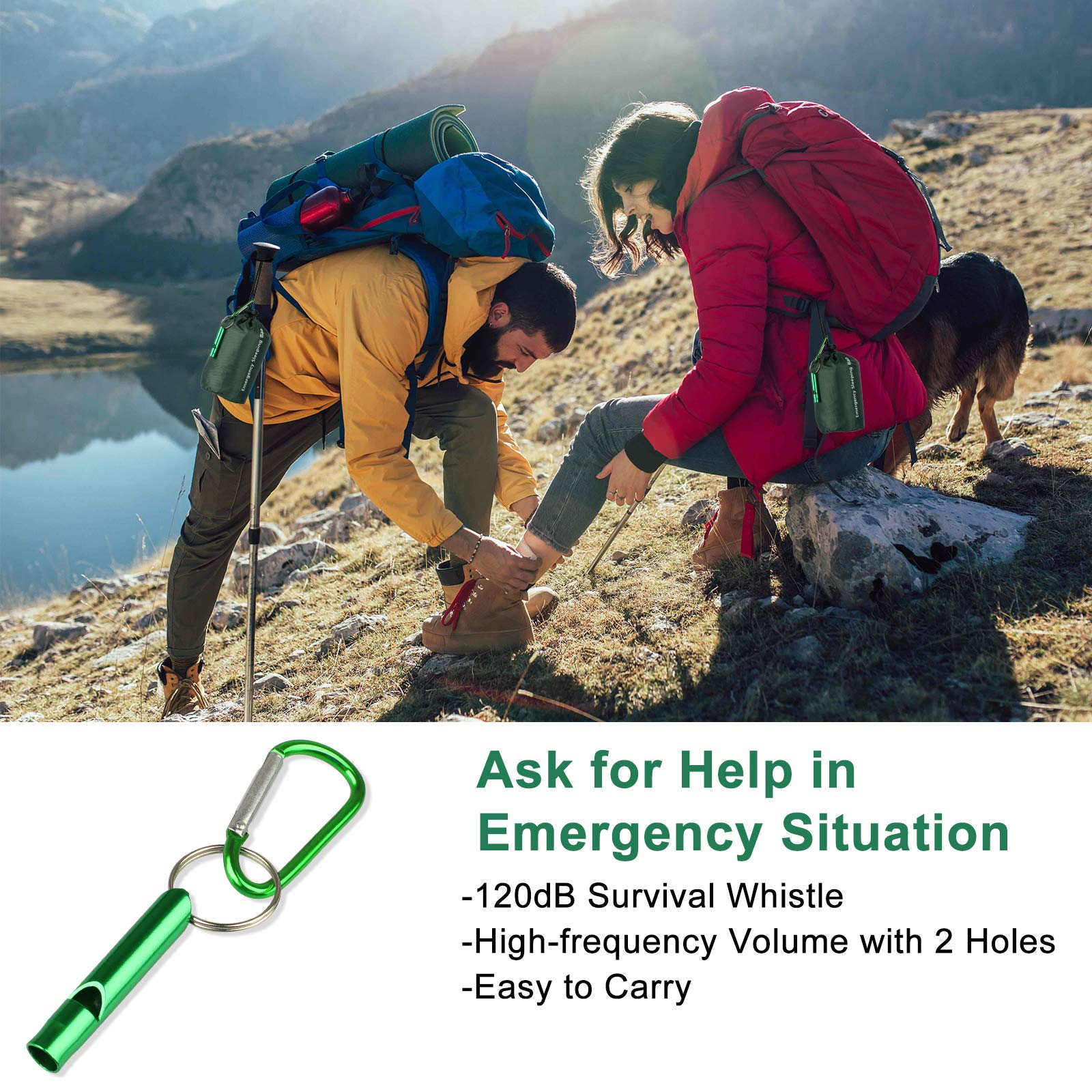 EEEKit Emergency Sleeping Bag with Survival Whistle,2Pack Lightweight Waterproof Survival Bivy Sack, Thermal Emergency Blankets Portable Mylar Survival Gear for Camping, Hiking, Outdoor Activities