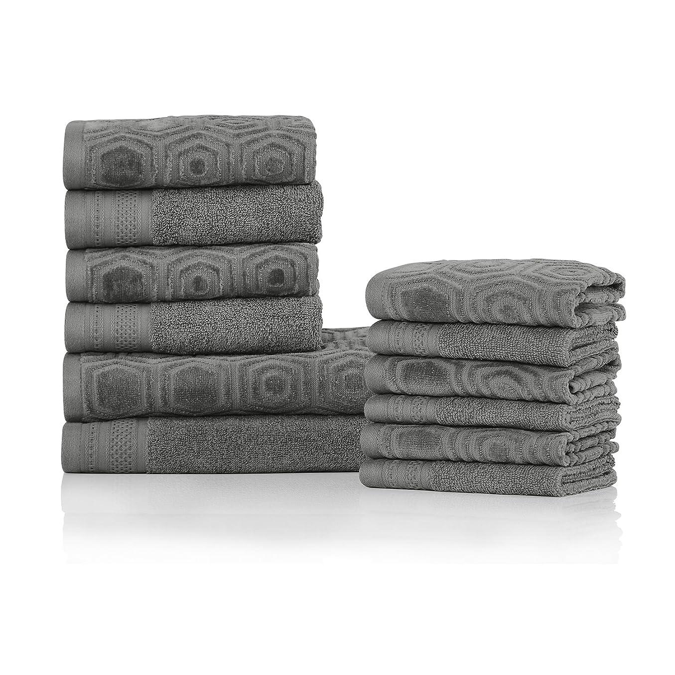 五ダイエット振り向くブルーナイルMills 100?%上質コットンハニカム12?pc Jacquard andソリッドタオルセット Bath Towel Set ブルー BNM 500GSM HNYCMB 12PC JAQ-SOL GM