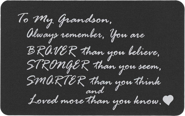 Braver Stronger Smarter Grandson Personalized Photo Engraved Metal Wallet Mini Insert Card