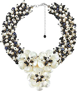 AeraVida Midnight Floral Mother of Pearl and Cultured Freshwater Pearl Daisy Collar Necklace