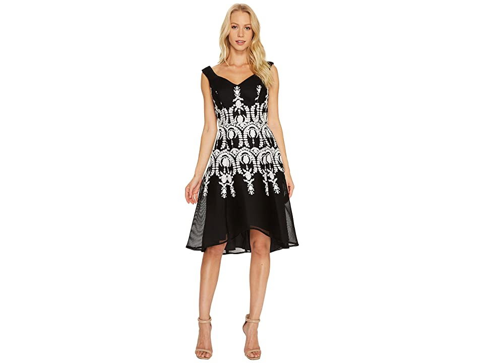 Adrianna Papell Embroidered Neoprene Fit and Flare Dress (Black/Ivory) Women