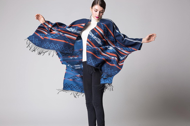 YianBestja Damen Herbst/Winter Poncho mit Quaste, 130 * 150CM Poncho-Schal Überwurf Cape Umhang Wendeponcho für Frau 50-5
