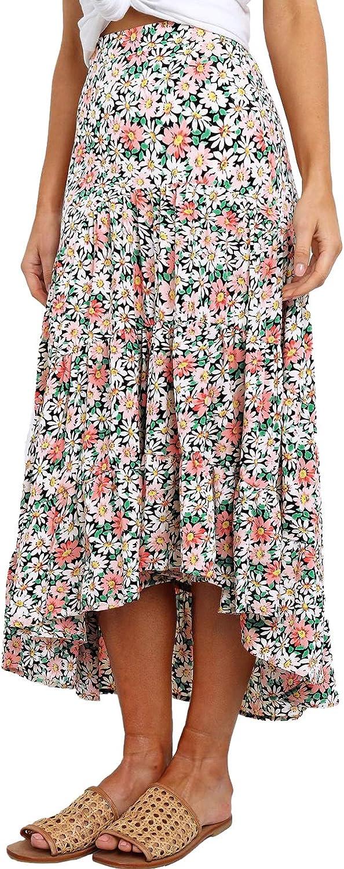 PRETTYGARDEN Ditzy Floral Skirt Midi Boho Elastic High Waist Skirt A-line Long Vintage Skirts for Women Pleated Skirt