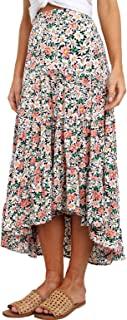 Ditzy Floral Skirt Midi Boho Elastic High Waist Skirt A-line Long Vintage Skirts for Women Pleated Skirt