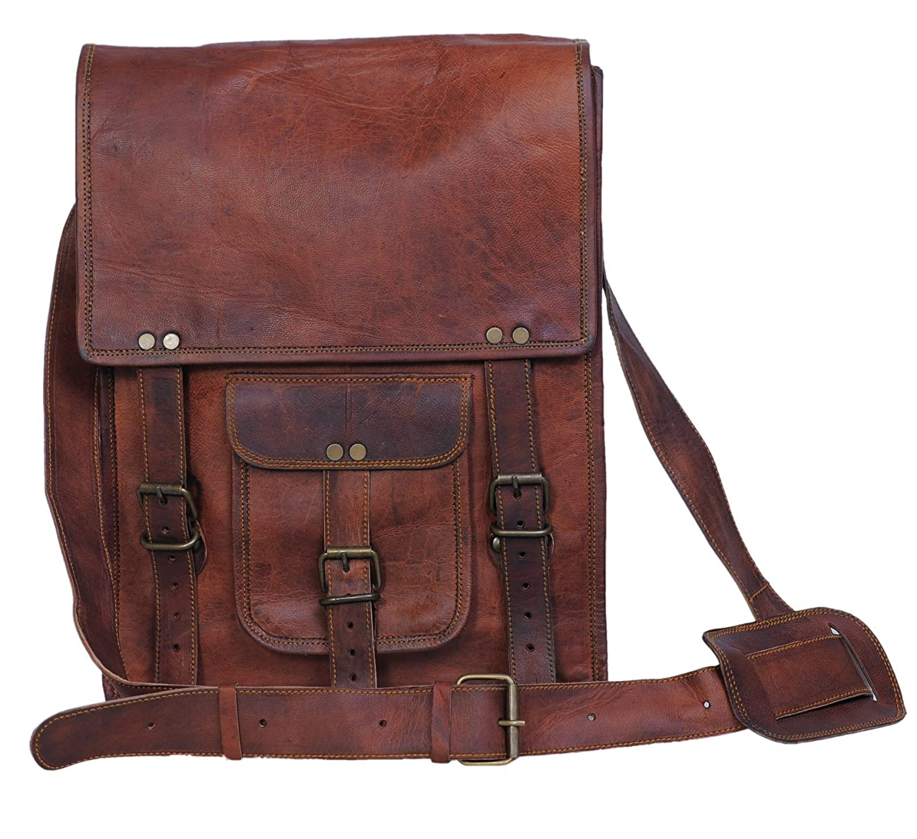 Komal's Passion Leather 11 Inch Sturdy Leather Ipad Messenger Satchel Bag