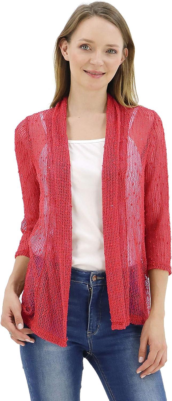 Max 41% OFF BENANCY Women's 3 4 Sleeve Mesh Shrug Crochet Short Lightweight Super beauty product restock quality top