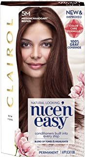 Clairol Nice 'n Easy Permanent Hair Color, 5M Medium Mahogany Brown, 1 Count, Brunettes