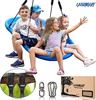 60 Inch Platform Tree Swing for Kids and Adults – Giant Flying Outdoor Indoor Saucer Hammock - Surf Tire Swingset Accessories Toys - 2 Tree Straps, 2 Carabiners, 1 Swivel - 350 Pounds Yard Swings Set