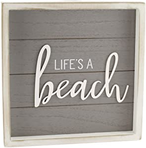 AuldHome Rustic Home Sign, Life's a Beach (Gray), 10 x 10 Framed Wood Plaque with Farmhouse Style Ship Lap