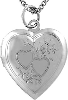 Photo Locket for Women and Girls [ Two Hearts ] - 20X More Real 24k Gold Plating Than Other Heart Locket Necklaces That Hold Pictures - Pendant with or Without 18 inch Link Chain