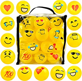 Youngever 60 Pack Pit Balls,Crush Proof Plastic Ball, Bright Colors Ball Pit, Fun and Educational (Yellow Emoji)