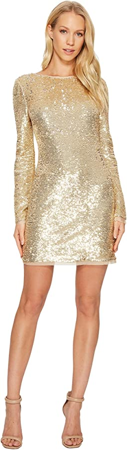 All Over Sequin Long Sleeve Racko Dress