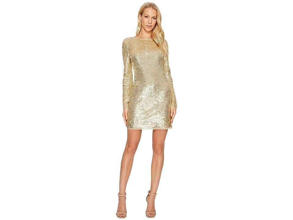 Rachel Zoe All Over Sequin Long Sleeve Racko Dress (Gold) Women