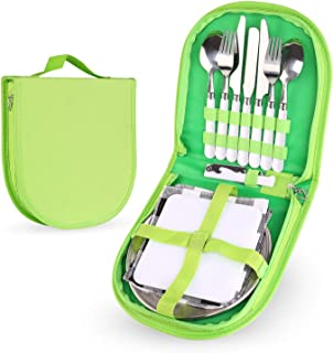 Odoland 12 Piece Silverware Kit Cutlery Organizer Utensil Picnic Set with Stainless Steel Plate, Spoon, Butter and Serrated Knife, Wine Opener Fork and Napkin, Perfect for Hiking, Camp Kitchen, BBQ