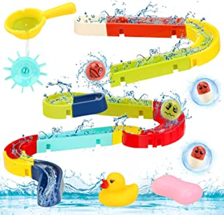 Sotodik Baby Bath Toys Assemble Set DIY Water Slide Waterfall Ball Tracks Bathtub Shower Toys with Wall Suction Swimming P...