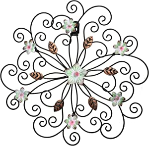 12 Inch Metal Flower Wall Decor with Rust Leaf Large Floral Metal Wall Art Inspirational Iron Flower Decor Wrought Hanging Wall Sculptures for Indoor Outdoor Home Decoration