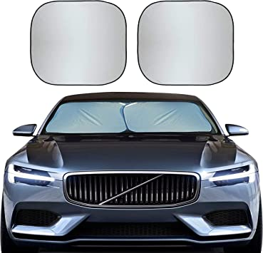 EcoNour Foldable 2-Piece Car Windshield Sunshade | Durable 240T Polyester Sun Shield for Front Window Blocks UV Rays | Automotive Interior Accessories for Sun Protection | Medium (28 x 31 inches): image