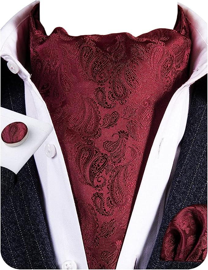 Men's Victorian Costume and Clothing Guide Barry.Wang Mens Cravat Tie Silk Ascot Paisley Scarf Self Ties Pocket Square Cufflinks Set Dress Wedding  AT vintagedancer.com