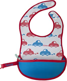 b.box Travel Bib and Flexible Soft-bite Spoon | Beep Beep Pattern | Adjustable Neck Strap | BPA-Free | Phthalates & PVC Free | Easy Wipe Clean Fabric | Folds up into its own pouch