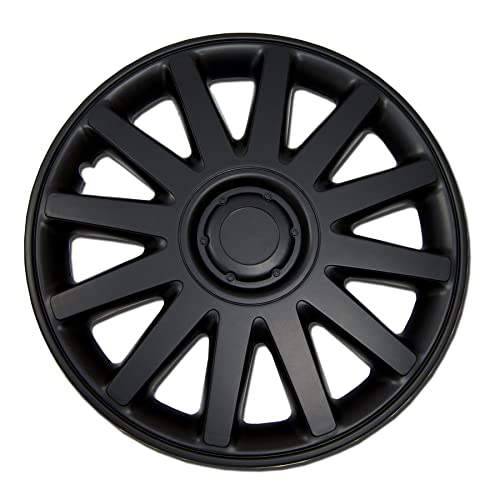 TuningPros WC-15-616-B 15-Inches Pop On Type Improved Hubcaps Wheel Skin Cover Matte Black Set of 4